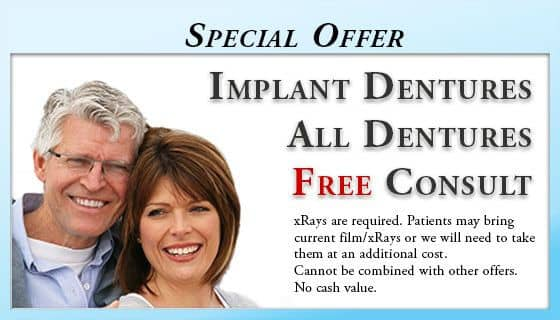Free Implant and Implant-retained Dentures Consultations - Wilmington, DE Dentist. Free Dental Implant and Implant-retained Dentures Consultations - We need the necessary films/xRays for a consultation. Patients may bring current film/xRays or we will need to take them and an additional cost. Does not apply with insurance. Cannot be combined with other offers. No cash value.